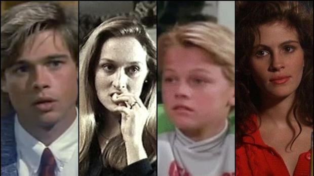 Brad Pitt, Meryl Streep, Leonardo DiCaprio y Julia Roberts, en algunos de sus primeros papeles
