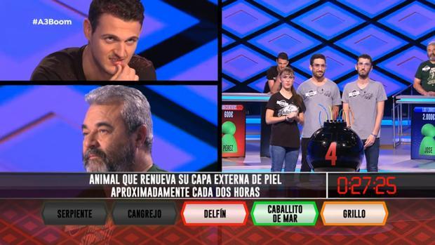 José Pinto (abajo izquierda), en el programa de «¡Boom!» en el que «Los Lobos» derrotaron a «Indecentiers»