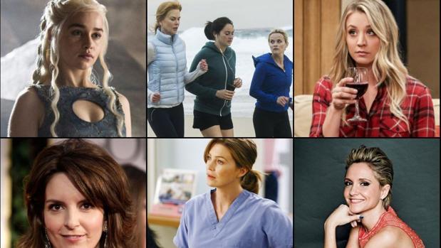 Arriba: Emilia Clarke («Juego de Tronos), las protagonistas de «Big Little Lies» y Kaley Cuoco («The Big Bang Theory». Abajo: Tina Fey, Ellen Pompeo («Anatomía de Grey») y la española Teresa Fernández-Valdés
