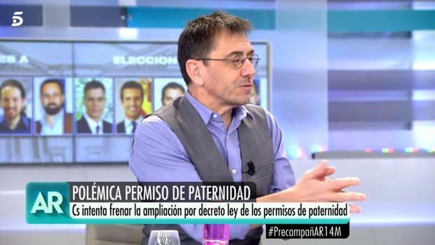 Juan Carlos Monedero, este jueves en «El programa de Ana Rosa»