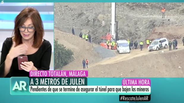 Ana Rosa, durante la cobertura del rescate de Julen que critica el Consejo Audiovisual de Andalucía