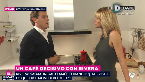 Albert Rivera y Susanna Griso, durante la entrevista emitida hoy en Espejo Público