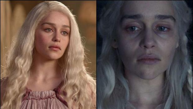 Imagen de Daenerys Targaryen (Emilia Clarke), en la primera temporada y en esta última de «Juego de Tronos»