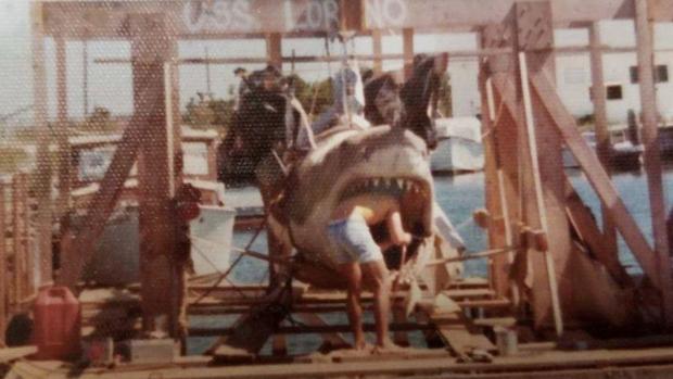 Imagen de los preparativos del rodaje de «Tiburón»