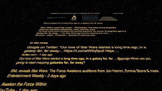 Star wars el truco secreto de google que puedes probar for En una galaxia muy muy lejana
