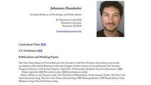 Currículum de Johannes Haushofer en su perfil de Princeton