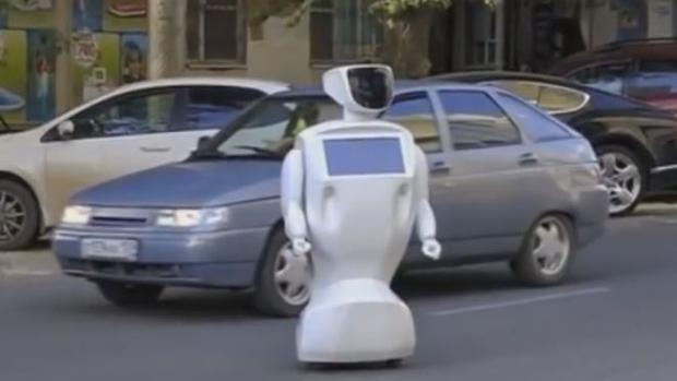 El robot durante su paseo