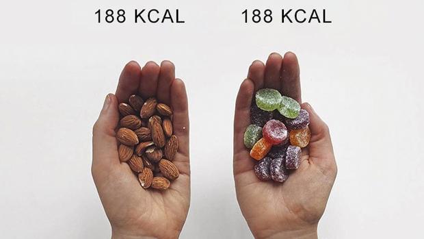 Lucy Mountain comparte imágenes en Instagram en las que muestra alimentos muy diferentes que aportan la misma cantidad de calorías