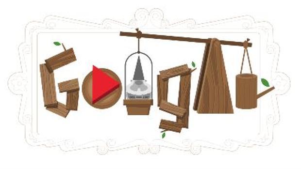 Imagen que presenta el doodle que homenajea a los gnomos de jardín