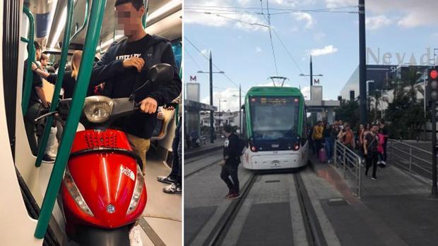 Imagen del metro y del joven que entró con su moto en el vagón