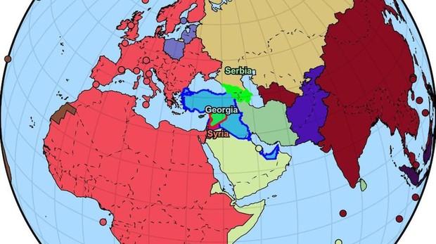 España (en color rosa) ha conquistado ya casi toda Europa y África
