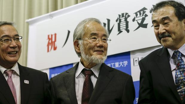 El científico japonés Yoshinori Ohsumi (c), premio Nobel de Medicina 2016 por el descubrimiento del mecanismo de la autofagia celular
