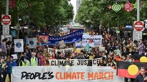 Manifestación en Melbourne (Australia) para pedir acciones contra el cambio climático, este 27 de noviembre