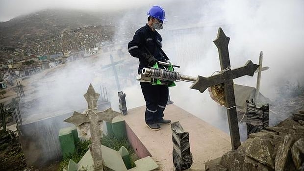 Un especialista fumiga en el cementerio de Nueva Esperanza,a las afueras de Lima, para prevenir el viris Zika y Chikununya