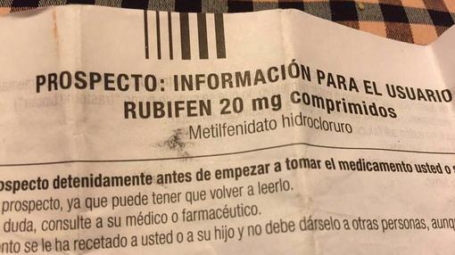 Prospecto de Rubifen, uno de los nombres con los que se comercializa el metilfenidato hidrocloruro