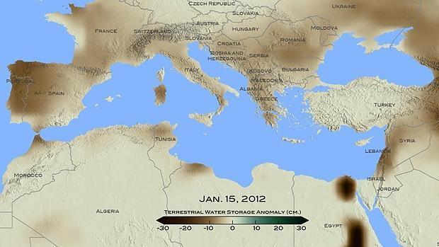 Mapa de la sequía elaborado por la Nasa