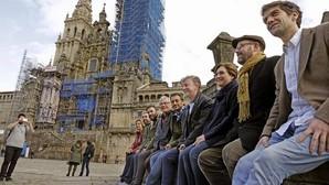 Alcaldes populistas, en la Plaza del Obradoiro, junto a la Catedral de Santiago de Compostela