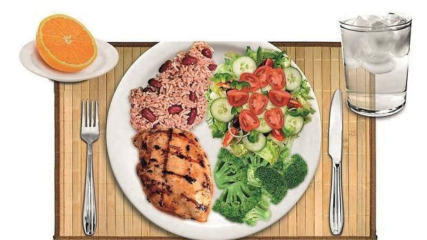 El método del plato ofrece una comida sana y equilibrada