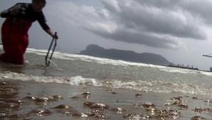 Restos de medusas inundan una playa de Algeciras, el pasado verano
