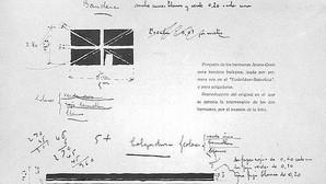 Primer boceto de la ikurriña realizado por los hermanos Luis y Sabino Arana, en 1894