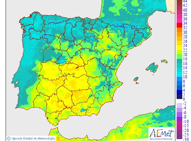 Mapa de las temperaturas mínimas de la noche del miércoles