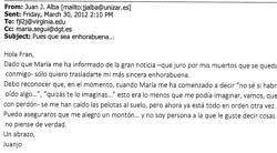 María informa el 30 de marzo de 2012 a Juan José Alba de que es pareja de López-Valdés, y el profesor le da la enhorabuena Dice que «jura por sus muertos que la noticia se quedará con él y que se le han caído las pelotas al suelo»