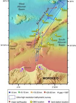 Localización de las estaciones sísmicas submarinas que se situarán en la zona de la falla Al-Idrissi, en el Mar de Alborán,