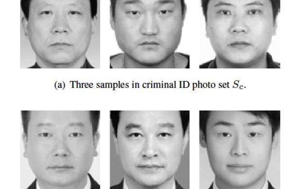 Estudio en China sobre detección de criminales por el rostro. Con un algoritmo, el experimento ha comparado los rostros de los criminales (arriba) con los de personas sin delitos