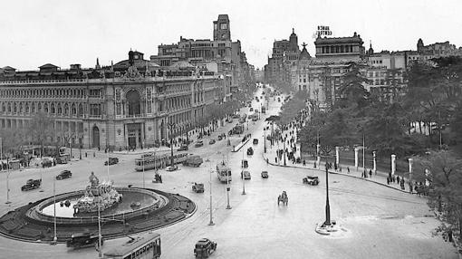 La plaza de Cibeles, en enero de 1945