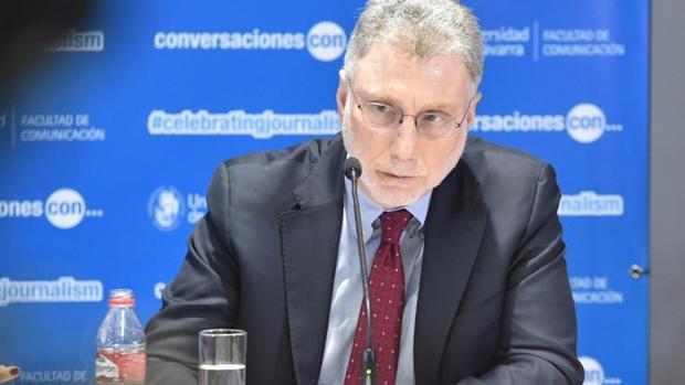 El director del «Washington Post», Martin Baron, este miércoles 25 de enero en Madrid durante su encuentro con los medios de comunicación