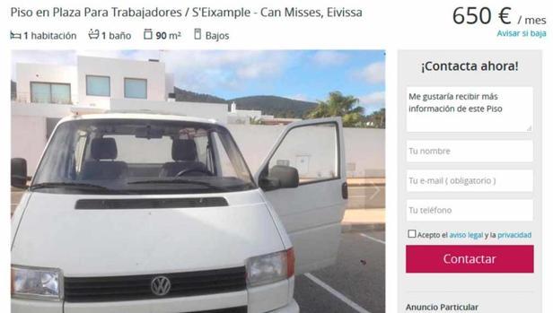 Captura del anuncio de una furgoneta como vivienda en Ibiza, que ya ha sido retirado