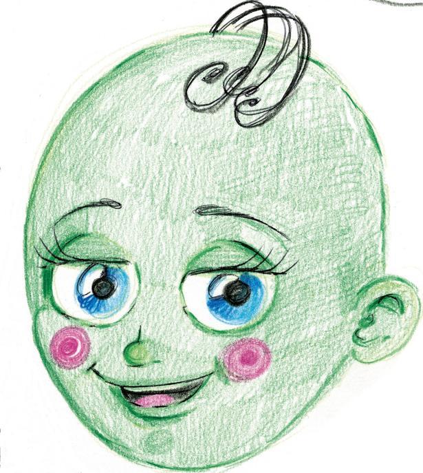El dibujo de «El bebé verde», por Roberta Marrero