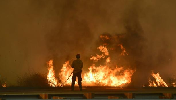 Un bomero lucha contra las llamas en Mondos Beach, oeste de Ventura, California