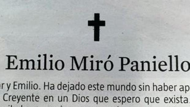 La esquela, publicada en La Vanguardia
