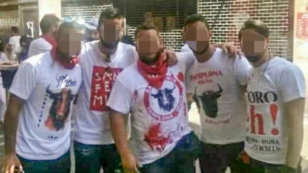 Los cinco integrantes de La Manada, durante los Sanfermines de 2016