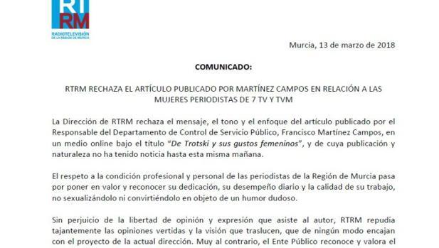 Comunicado del Consejo de RTRM