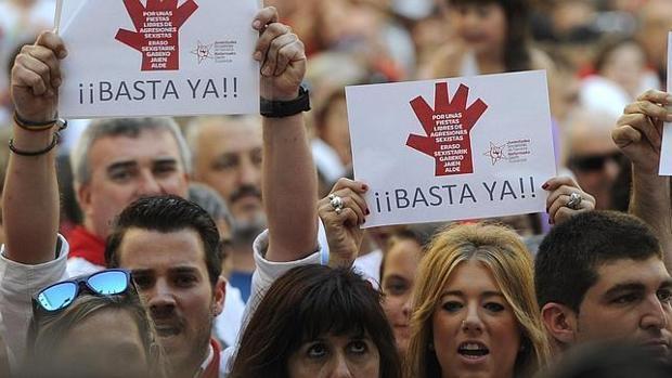 Imagen de archivo de manifestaciones en San Fermín por las agresiones sexuales