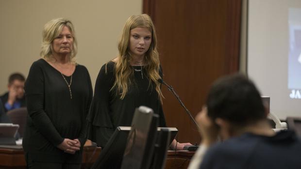 Jade Capua brinda su testimonio durante los procedimientos judiciales en la fase de sentencia al médico Larry Nassar en Lansing, Michigan, EE. UU., el pasado 16 de enero de 2018