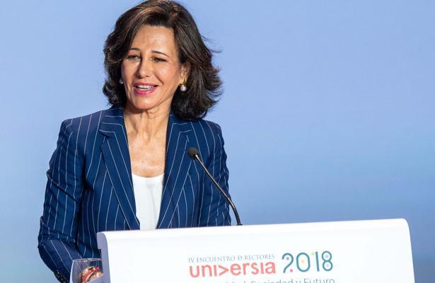 Ana Botín, durante su intervención en la inauguración del IV Encuentro Internacional de Rectores Universia