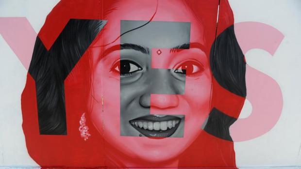 Un mural de la campaña a favor del aborto en Dublín (Irlanda)