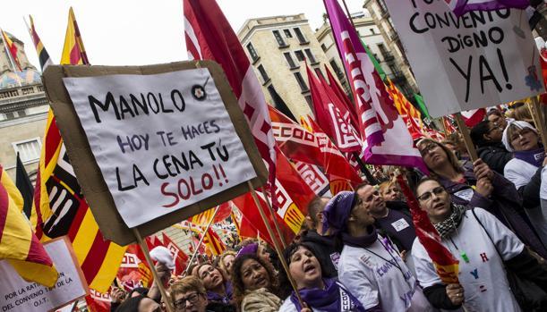 Concentración feminista en Barcelona, para denunciar la brecha salarial y la desigualdad que aún sufren las mujeres en la sociedad y en el mundo laboral, el pasado 8 de marzo, Día Internacional de la Mujer