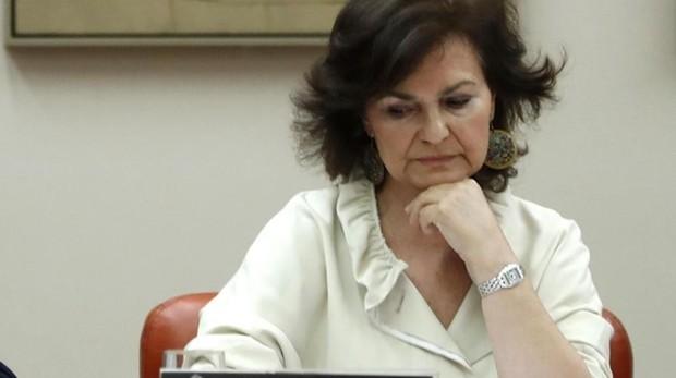 Carmen Calvo, durante su comparecencia ante la Comisión de Igualdad en el Congreso