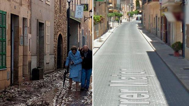 Una calle de Sant Llorenç des Cardassar, antes y después de la tragedia