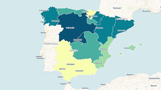El mapa que muestra las diferencias educativas por comunidades