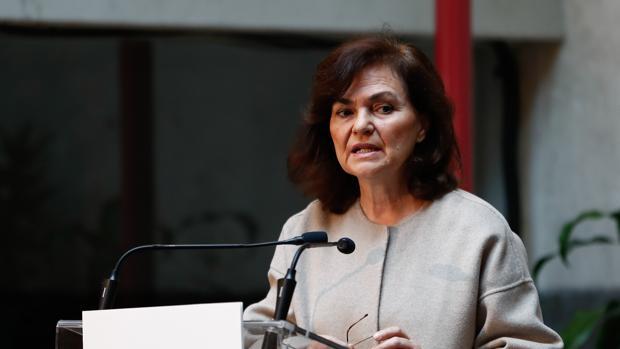 Carmen Calvo, vicepresidenta y ministra de Igualdad, durante su intervención