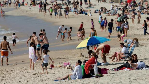 Playa de Samil, en Vigo la pasada Semana Santa
