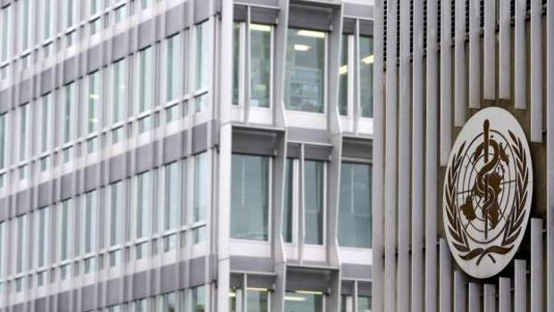 Vista de la sede de la Organización Mundial de la Salud (OMS)