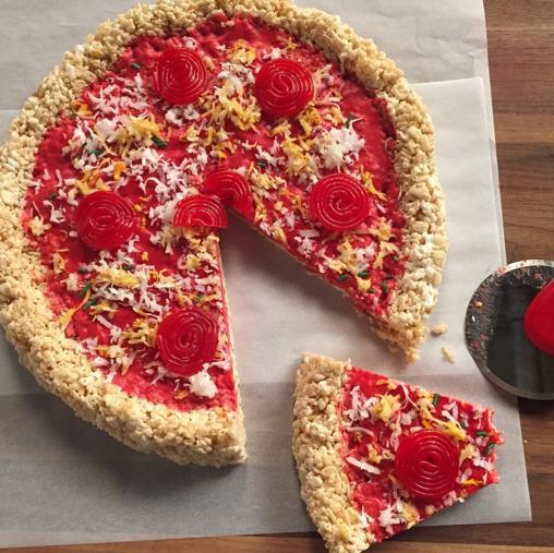 Pizza de arroz inflado