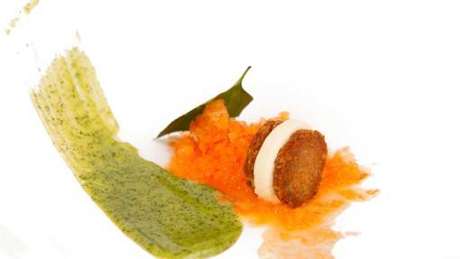 El postre Zanahoria en granizado del restaurante Santceloni