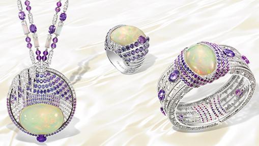 Colección de ópalos, turmalinas paraiba, zafiros y diamantes